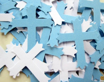 200-white and blue Cross Confetti-Baptism Decorations-boys Christening confetti-Baby decoration for a boy-small-large paper crosses-die cuts