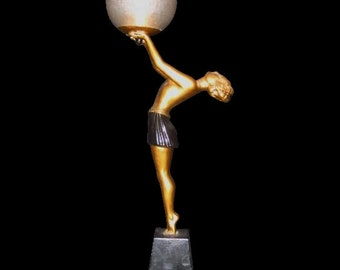 Art Deco Lady Lamp with Globe - Enrique Molins-Balleste