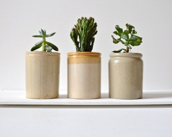 Victorian stoneware preserve jars great to use as storage containers. Small and very strong vintage multi-purpose pots.
