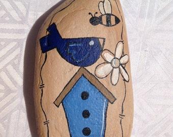 Summer Painted Rock Paperweight, Garden Decor, Office Decor