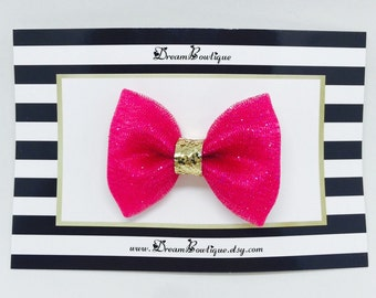 Pink Glitter Tulle Hair Bow, Gold Hair Bow, Pink Glitter Hair Bow, Gold Glitter Hair Bow, Pink Hair Bow, Gold Tulle Hair Bow