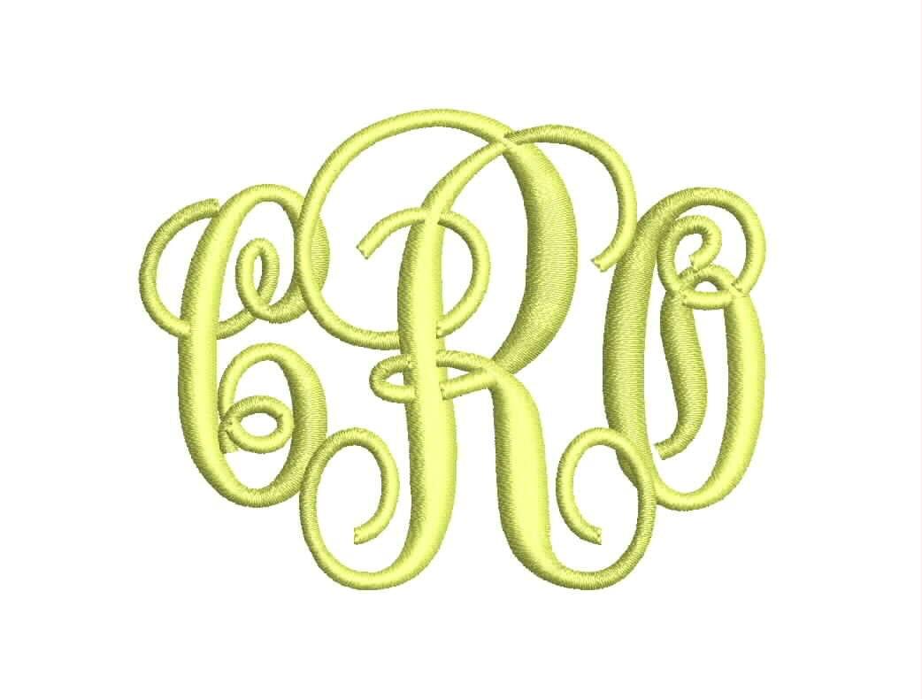 Interlocking letter monogram font machine embroidery