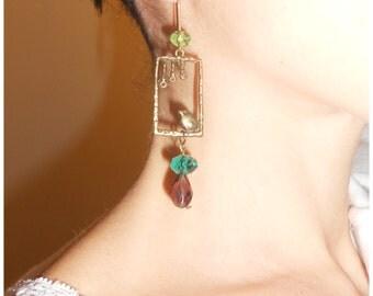 Brass bird vintage earrings with crystal,orecchini vintage con uccellini e mezzi cristalli