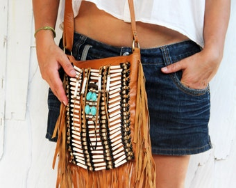 Boho leather fringe purse, bohemian festival bag