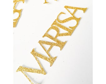 Gold Birthday Name confetti, birthday name confetti, glitter custom name confetti, 30th birthday, 40th, 50th, 1st birthday- Up to 8 Letters