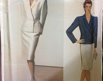Vogue 1158 - 1980s Bill Blass Suit Set with Double Breasted Jacket with Notched Collar and Straight Skirt - Size 12 Bust 34
