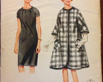 Butterick 4189 - 1960s Swing Coat and Sheath Dress - Size 10 Bust 31