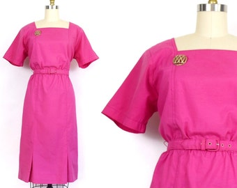 M-XL | Petites by Willi Magenta Pink Belted Dress