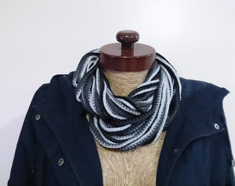 Noodle scarf, black scarf, black noodle scarf, infinity scarf, ombre scarf, black ombre scarf, black infinity scarf, bdsm outfit