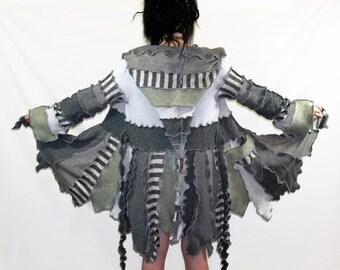 SPRING SALE Gray Pixie-Upcycled Sweater Coat, Size medium