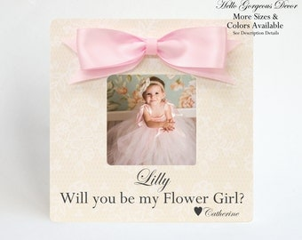 Flower Girl Ask Frame Proposal Will you be my Flower Girl? Gift to Flower Girl Photo Frame Flower Girl Present Wedding Bridal Party Ideas