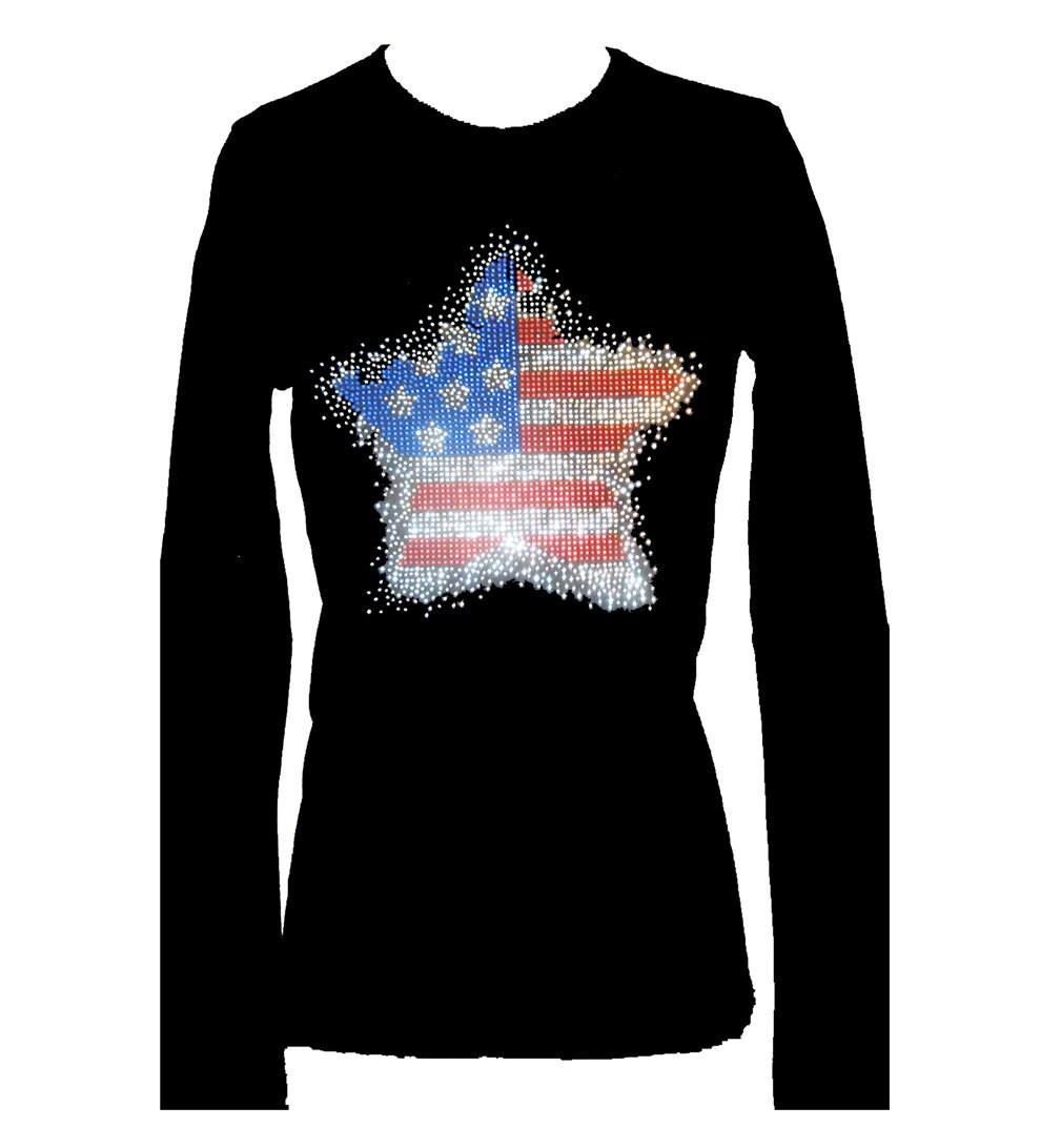 Star flag rhinestone memorial day veterans bling glitter for Women s embellished t shirts