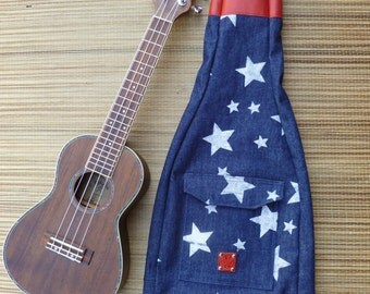 Ukulele Bag-  Concert Size- RED WHITE and BLUE, Hand-Blocked Denim with Leather Reinforced Head Sock, Gig Bag, Uke, Beach Party, Last One!