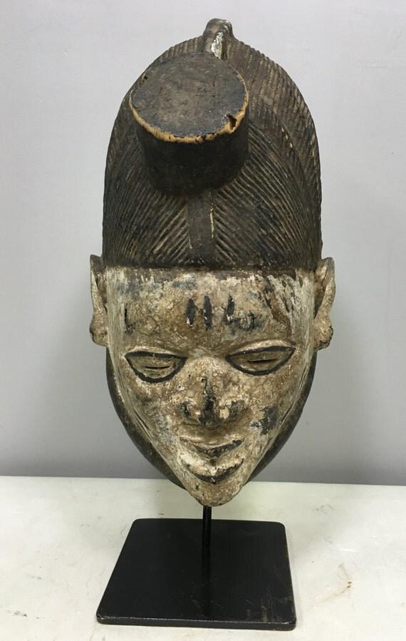 Mask Yoruba Gelede Mask Performance Male Wood Handmade Wood Mask Black White Dance Festivals Ceremonies Unique Statement P