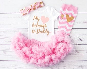 Baby Girl Outfit, Father's Day, My heart belongs to Daddy, Pettiskirt, Legwarmers, Bow,Baby Shower Gift, Baby Girl Onesie, Father's Day Gift