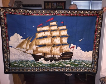 Ex Large Tapestry of Clipper Ships; Huge Wall Tapestry of Nautical Ships; Vintage Nautical; Vintage Clipper Ships;