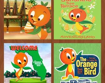 Handmade Ceramic Coasters - Disney's Orange Bird - Set of 4 - Walt Disney World