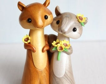 Squirrel Wedding Cake Topper- woodland polymer clay cake topper & keepsake by Heartmade Cottage