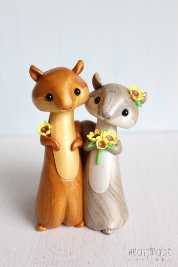 Squirrel Wedding Cake Topper Woodland Polymer Clay Cake