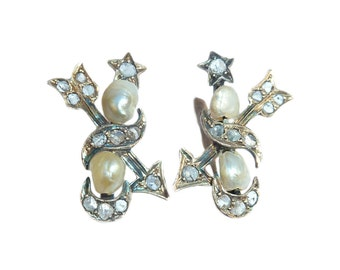 Victorian Arrow Earrings With Rose Cut Diamonds And Sea Pearls