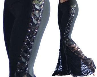 Romantic Black Lace Corset Flare Pants