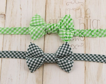 Little Boy/Baby Gingham Bow Tie, Green Gingham Bow Tie, Dark Green Gingham Bow Tie, Ring Bearer Bow Tie, Christmas Bow Tie