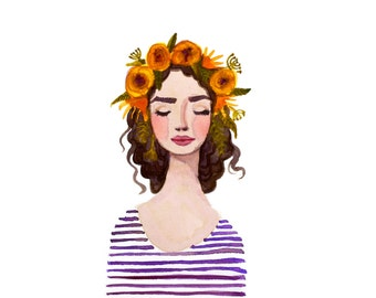 Print of Purple Flower crown girl watercolor painting. Stripes, flowers. Fashion illustration lady, beauty, glamour, original art, yellow