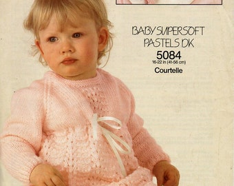 """baby knitting pattern pdf baby dress baby girls dress 16-22"""" DK light worsted 8ply pdf instant download"""