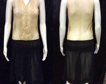 Vintage 1920's Black & Tan Drop Waist Flapper Dress
