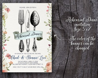 Wedding Rehearsal Dinner invitation, custom printable 5x7, Floral rehearsal dinner invite, printable invitation, custom invitation,