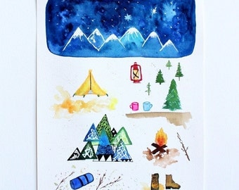 Original Watercolor print 8x10'', Art Print, Watercolor print, Camping art, Camping illustration, Watercolor art, anniversary gift