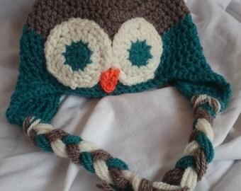 Owl Earflap Baby Hat