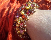 The Jewel of India Cuff-by Lady Grey Beads--Bead Woven Bracelet Yellow Copper Pearls multicolor Pink Red Purple Yellow Crystal MagneticClasp