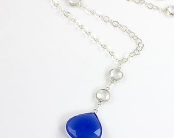 Blue Chalcedony Pendant Sterling Silver Long Necklace