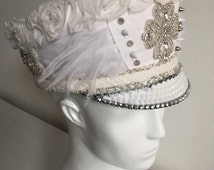 White bohemian burning man hat with feathers sequins rhinestones, leather & lace and spikes, festival playa bride headdress feather crown