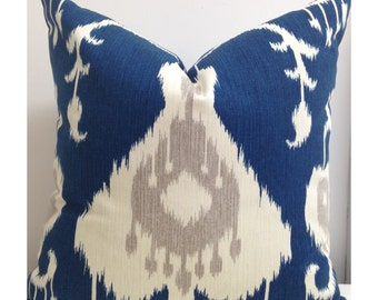 Ikat pillow cover Zipper Pillow cover Java Ikat Navy Blue Accent Pillow Cover Decorative Throw Pillow 18x18, 20x20, 22 x 22, 24x24, 26 x 26