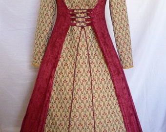 Medieval dress pagan gown gothic costume red velvet Fantasy dress Handfasting  Renaissance wedding custom made to size fair