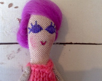Mini Heirloom Doll. Cloth Art Doll.