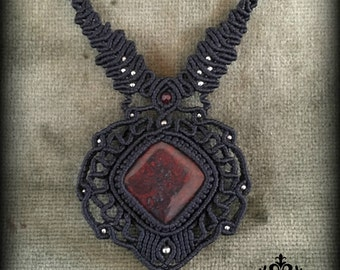 African red stone macrame necklace\handmade\micromacrame