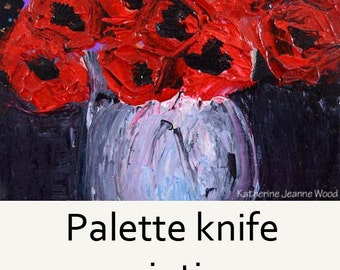 Acrylic Still Life Floral Painting. Red Abstract Flowers. Palette Knife Painting. Home Wall Decor. Dining Room Art 55
