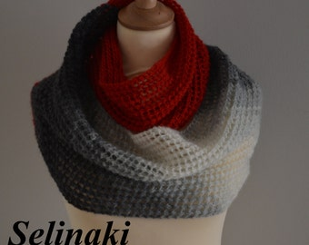 Knit Infinity Scarf Red