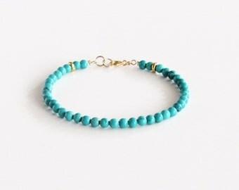 Genuine Turquoise Bracelet Minimalist Gold Bracelet Boho Bracelet Gift