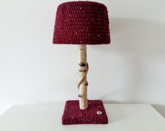 Lamp with birch tree branch and crochet lampshade - Unique eye catcher for natural interior - OOAK