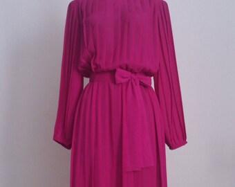 Vintage Secretary Dress - 1980's Fuchsia Pleated Dress - Magenta Hot Pink Work Wear - Size 14 XL