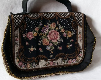 Vintage Petit Point Evening Purse, with Salmon Pink Lining, 1940s