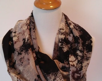 Abstract print fabric infinity cowl in taupe, blues, and black-abstract floral infinity cowl- polyester infinity cowl-lightweight cowl