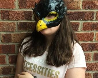 Bird Mask/ Blackbird mask/Paper mache mask/papier mache mask