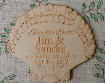 Seashell / Beach theme Personalised Wooden SAVE THE DATE Fridge Magnets