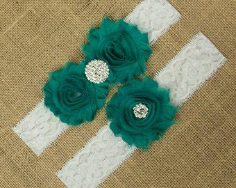 Teal Wedding Garter, Green Wedding Garter, Wedding Garter Set, Bridal Garter Set, Toss Garter, Keepsake Garter, Lace Garter Set, SCWS-G02