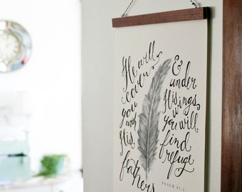 12x16 Feathers Scripture Print, Psalm 91:4, Hand-lettered Art
